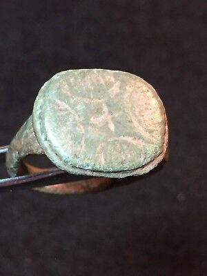 ancient roman bronze ring, Cross On Bezel, Circa 1st-3rd Century AD