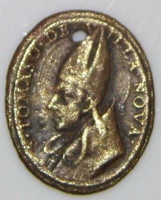 St. Thomas of Villanova MEDIEVAL BRONZE HOLY MEDAL & Christ Saviour Religious