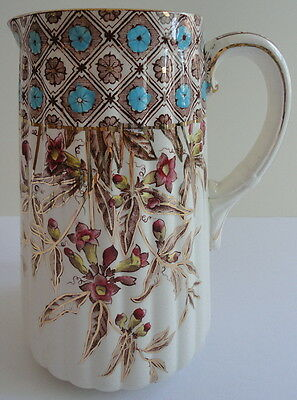 Aesthetic Movement Pitcher Avenue Pattern European Tranferware & Paint Gold Trim