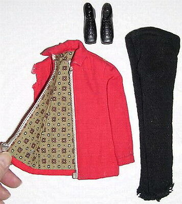 1963 Ski Champion Ken Mattel Doll Outfit #798 Red Zip Jacket Pants Pair Boots