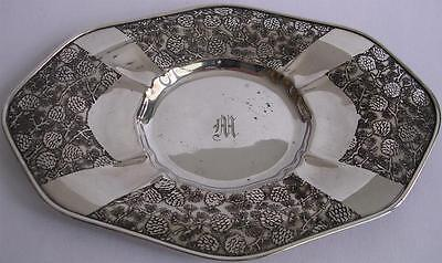 American Arts & Crafts Mulholland Brothers Pine Cones Silver Tray Vintage 1920's