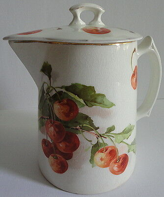Semi Vitreous Edwin M Knowles c.1909 Kitchen Utility Pitcher ART Cherries w/ Lid
