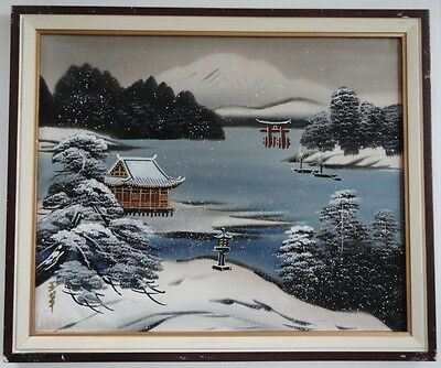 Silk Japanese Painting Artist Signed Mid Century Handsome Snow Landscape Lake