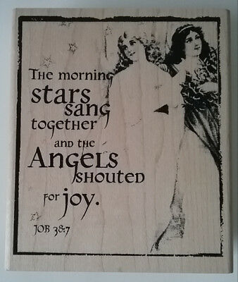Inkadinkado Tin Can Mail Christmas Angels Shouted for Joy Rubber Stamp 93158-X