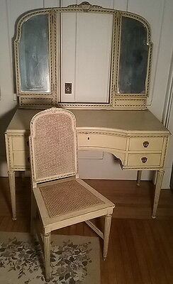 French Provincial 1920's Ladies Dressing Table w/ Matching Chair & 3 Way Mirror