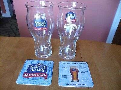 22oz Ounce Samuel Adams Perfect Pint Glass, Sam Adams Boston Beer Co. Set of 2