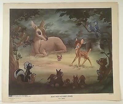 New York Graphic Society 1947 Walt Disney Bambi Meets His Forest Friends Print
