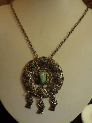 Vintage Ancient Egyptian Theme Medallion Scarab Stone Pharaoh Charms Necklace