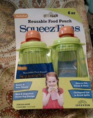 Pack of 2. Squeez Ems Reusable Food Pouch for Infants and Kids by Booginhead