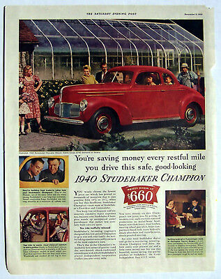Studebaker Auto ad 1940 Studebaker Champion red coupe Nick right side