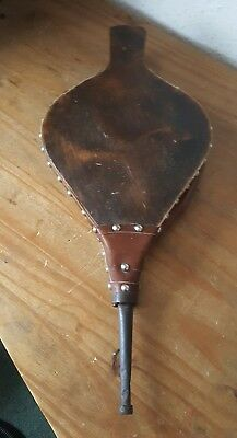 Vintage English wood & leather working Bellows with decorative brass studs VGC