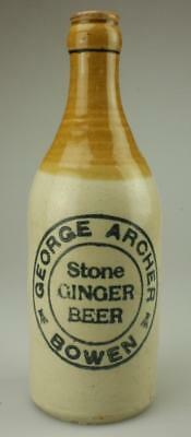 Antique George Archer, Bowen Crown Seal 1920's Stone Ginger Beer Bottle PR261