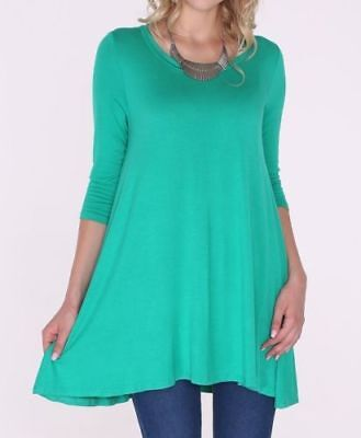 1ada6ef01bc Plus Size 2X New 3/4 Sleeve Kelly Green Stretch Tunic Top Shirt Blouse Dress