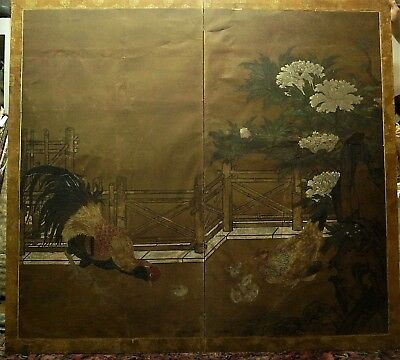 Antique Edo period Japanese screen 59 x33 two panel w peonies rooster hen chicks