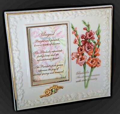"LENOX Birthday Frame ~ August ~ New In Box ~ 4-5/8"" x 4-5/8"""