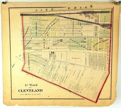 1874 Hand Colored Map of Cuyahoga County Cleveland Ohio - 5th Ward
