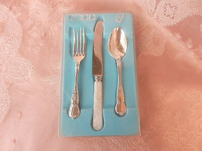 RODD  BOXED   CAMILLE  Childrens  SET  3  PIECE   Blue    SILVER PLATE   VINTAGE