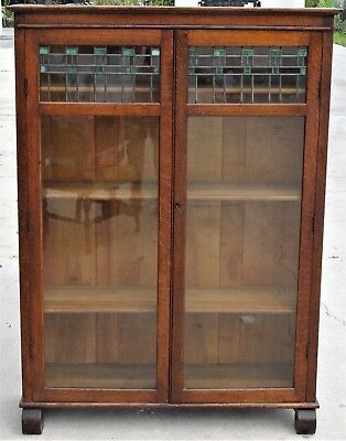 Antique 1800's Classic Bookcase Bookshelves Leaded Stained Glass Original Glass