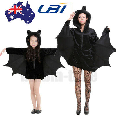 Adult Kids Halloween Vampire Bat Wings Capes Costume Fancy Dress Party Cosplay