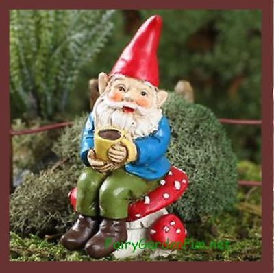 Miniature Dollhouse Fairy Garden Fun Coffee Gnome Soren  Caffeinated Gnome NEW