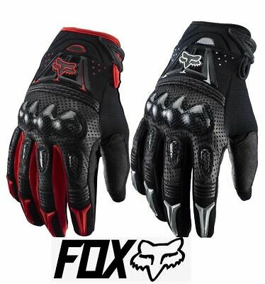 Fox Racing Bomber Motorcycle Gloves - Leather / Carbon Fiber Black or Red MLXL