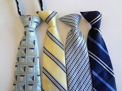 Boy's Pre-Tied Neck Ties (4) Ties For Ages 8 - 12  Years