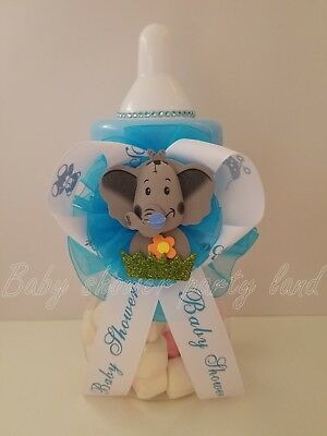 Elephant Centerpiece Bottle Large Baby Shower Piggy Bank It's a Boy Decorations