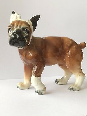 Vintage Boxer Dog Figurine Head And Leg Bandage