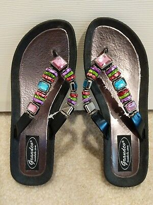 077d9974f New Grandco Sandals Women s Rainbow Wedge 26462E Black Size 7 Tags Attached