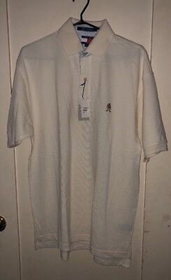 Vtg Tommy Hilfiger 90s Men's Polo Shirt Ivory Size M NWT