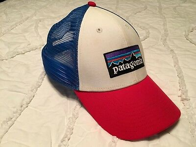 Patagonia P-6 Trucker Hat Used Good Condition Red White Blue NR Mid Crown  Fit 7951d0c2e70