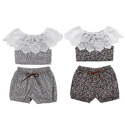 USA Newborn Toddler Baby Girl Lace Floral Ruffle Tops Shorts 2Pcs Outfit Clothes