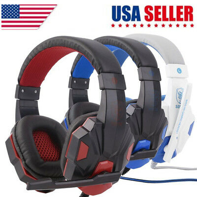 3.5mm Wired Gaming Headset Stereo Surround Headphone With Mic For PC/Laptop/PS4