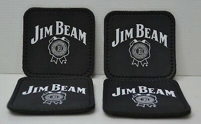 Jim Beam Bourbon Brand New Australian Made 4 Pack Of Leather Drink Coasters