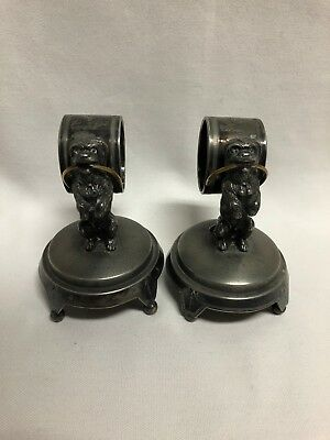 Wilcox 01502 Quadruple Silver Plate Figural Dog Napkin Ring Holders Pair