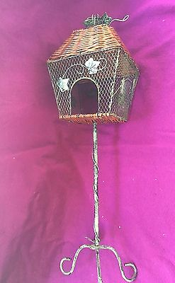 Wicker wooden metal bird feeder with stand ivy leaves vintage