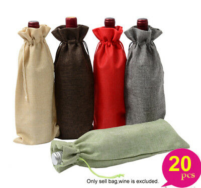 20 x Drawstring Burlap Linen Wine Bottle Cover Gift Bag Wedding Party Jute Pouch