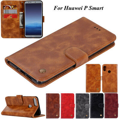 For Huawei P Smart, Luxury Wallet Retro Flip Leather Card Slot Stand Cover Case