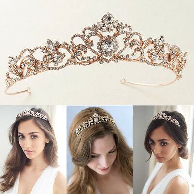 Wedding Princess Tiara Bridal Crown Prom Headpiece Silver/Gold/Rose Gold