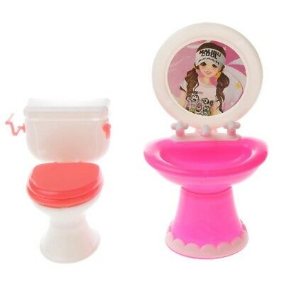 oom Set Plastic Toilet Washbasin for Barbie Dolls Dollhouse Miniature Decor N3T5