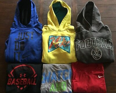 Lot Of 6 boys Under Armour Nike Sweatshirts Athletic Shirts Large GUC
