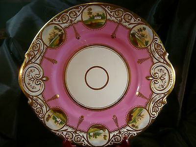Stunning Handle Antique Cake Plate H.p. Scenes In Gold Cartouche 19Th Century