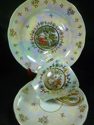 "Bavaria Tea  Coffee Cup And Saucer Trio 7 1/2"" Plate3 Graces Figural Gold Chintz"