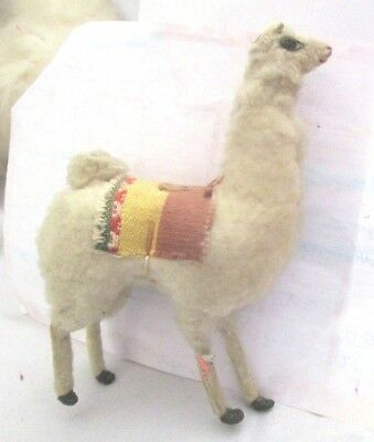 Vintage Folk Art Handcrafted White Peruvian Llama Furry Wool Figurine