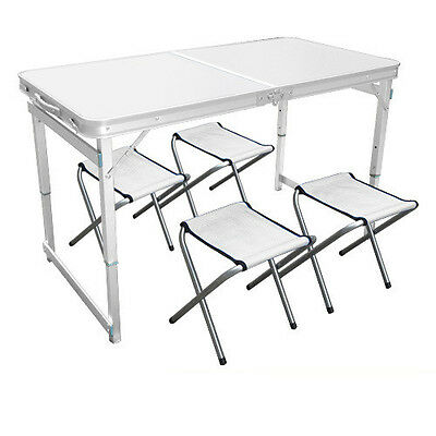 White Aluminium Folding Portable Camping Picnic Party Dining Table With 4 Chairs