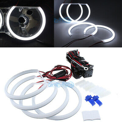 4x 146mm Cotton White Headlight LED Angel Eye Halo Rings For BMW E46(1998-2001)