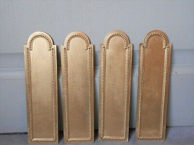 4 FRENCH Vintage Brass BEADED Backplates PUSH FINGER  Plates