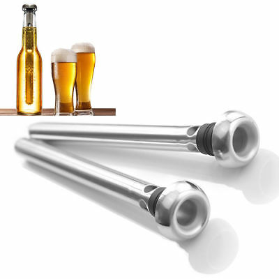 Beer Chill Stick Coolin Chiller Cooler Rod In Bottle Pourer Stainless Steel 2PCS