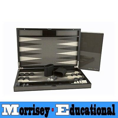 "Dal Rossi 18"" Carbon Fibre Finish Backgammon Set - MORRISEY EDUCATIONAL"