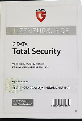 G Data Total Protection 2018 VOLLVERSION 1 PC GDATA Security